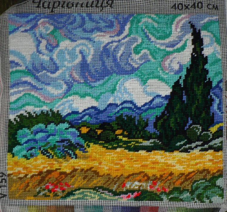 Вышивка пшеничное поле с кипарисами 87