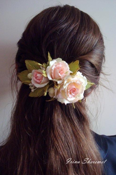 Заколка-роза для волос своими руками из 310