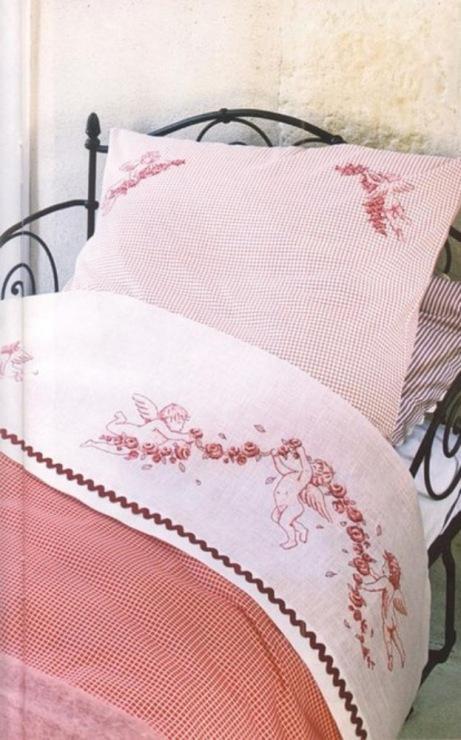 Вышивка на постельном белье схема 446