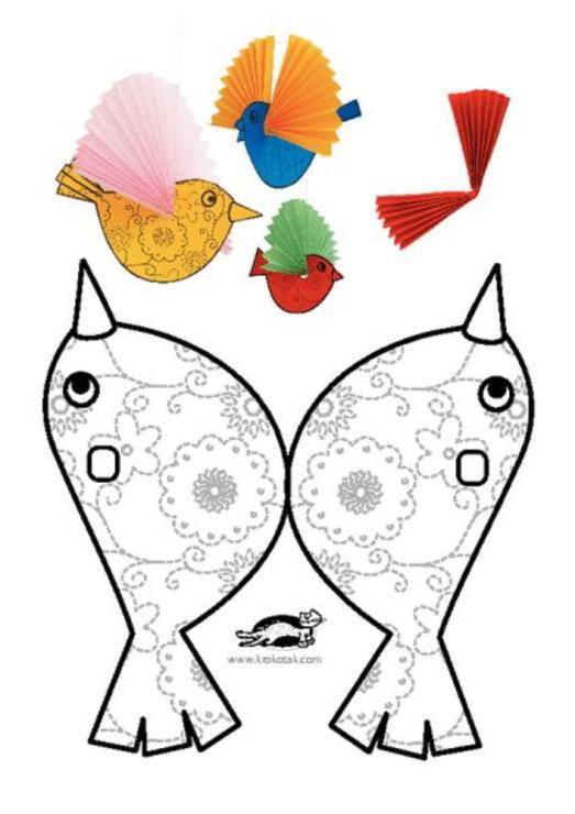 Птицы из бумаги схемы шаблоны для детей