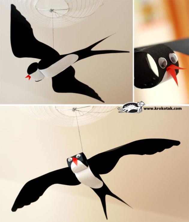 Как из бумаги сделать птицу с детьми