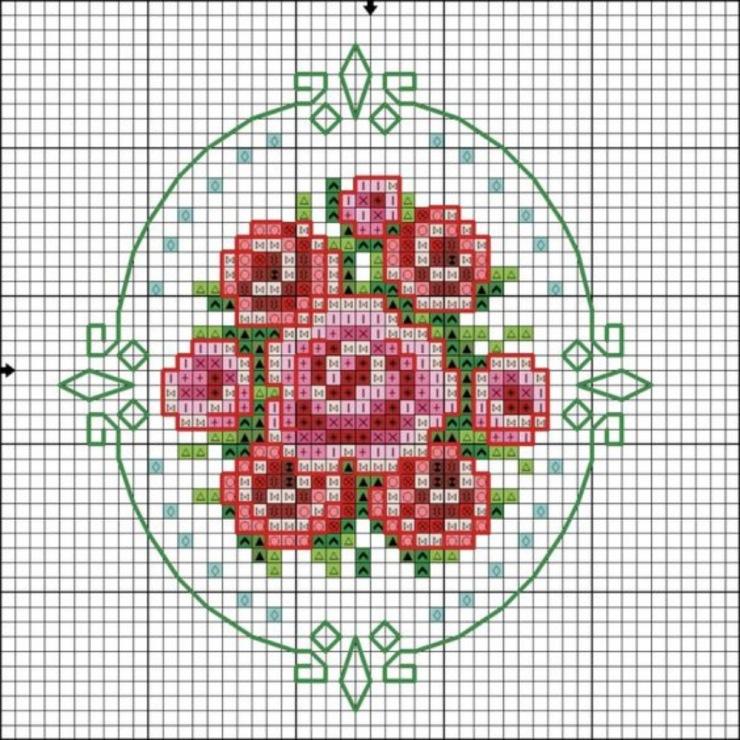 Схема вышивки крестом для броши 100