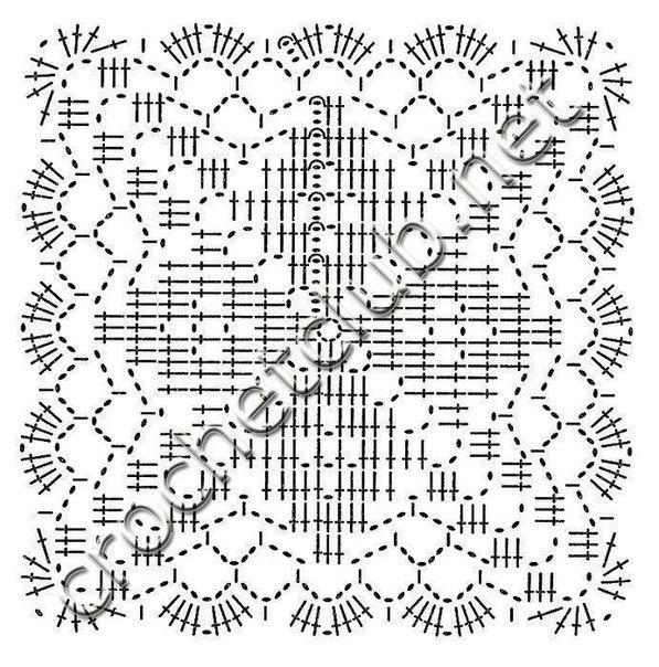 Вязание крючком пледов квадратных мотивов