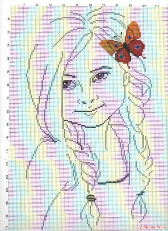 Вышивка схема девушка с бабочками 38