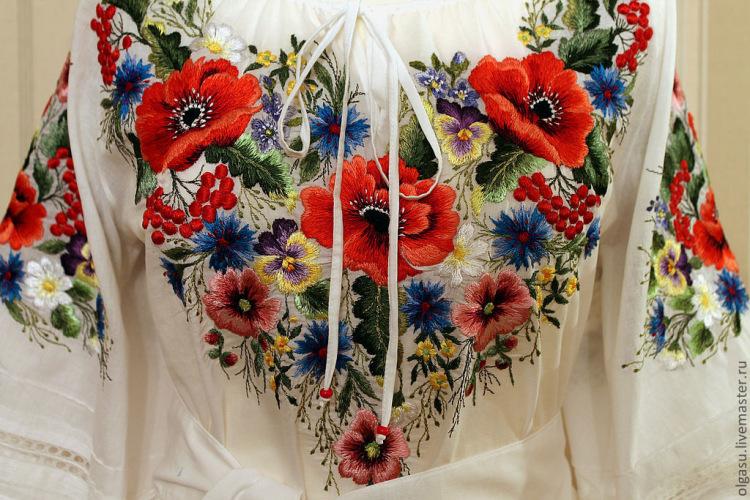 Мотив вышивки на блузке