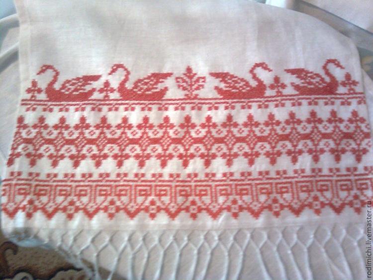 Вышивка лебеди на рушниках 74
