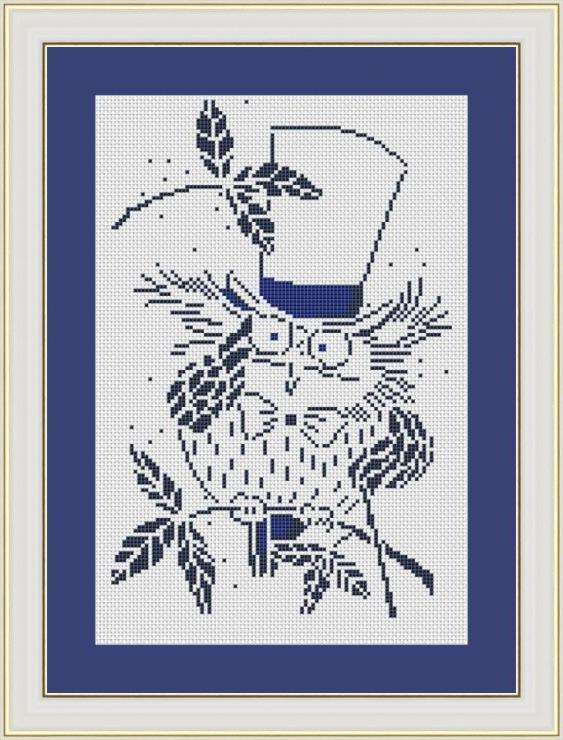 Вышивка крестом совы монохром 84
