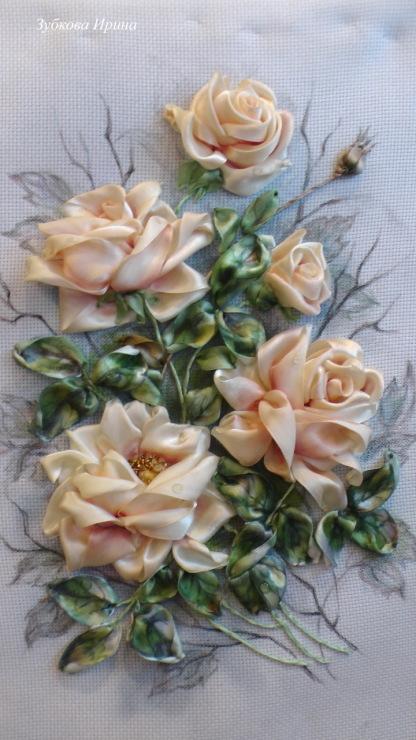 Вышивка лентами картины розы с листочками 53